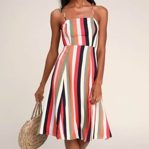 NWT Strappy Striped Dress, Size Medium